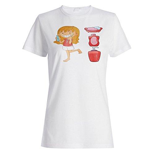 Lustiges lächelndes Mädchen, das die Zähne putzt Damen T-shirt g177f