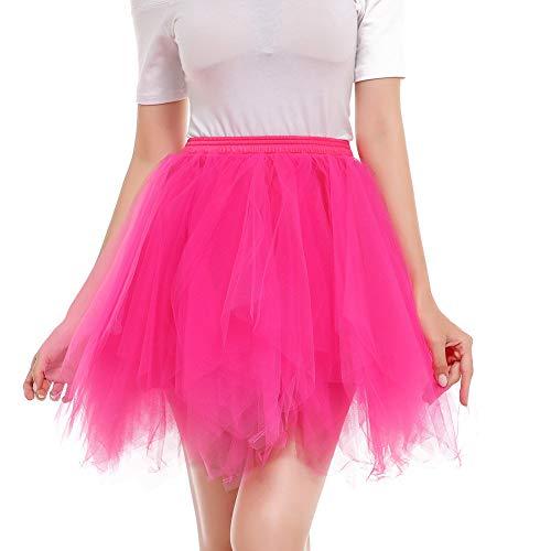 Mlide Women's 1950s Vintage Tutu Petticoat Ballet Bubble Skirt Ladies Candy Color Gauze Tutu Ball Skirt,Hot Pink M ()
