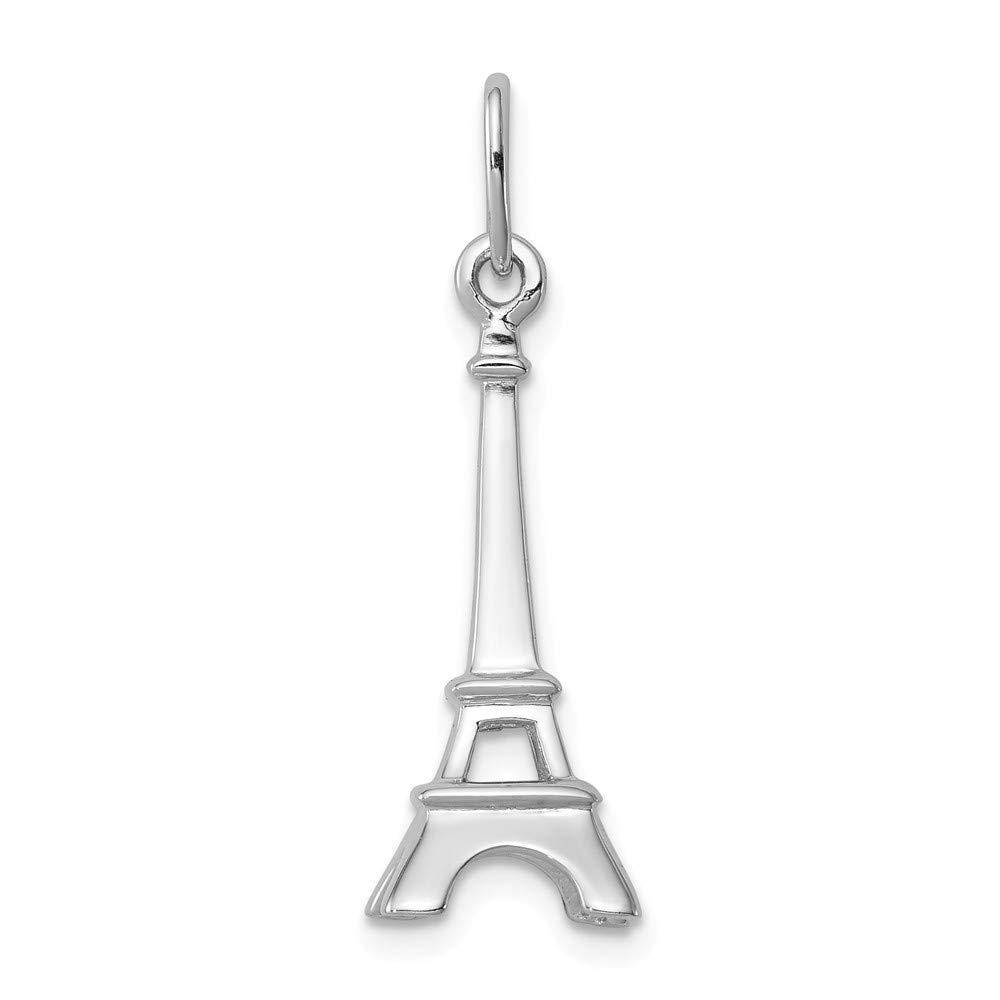 FB Jewels Solid 925 Sterling Silver Eiffel Tower Charm