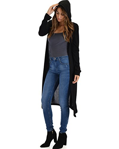 Lyss Loo Women's Cover Me Up Long-line Open Hooded Cardigan Sweater YC16311 Black - XL