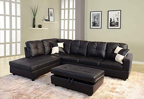 FlashPurchase Sectional Sofa, L-Shape Faux Leather Sectional Sofa Couch Set with Chaise, Ottoman, 2 Toss Pillow Using for Living Room Furniture.(Black)