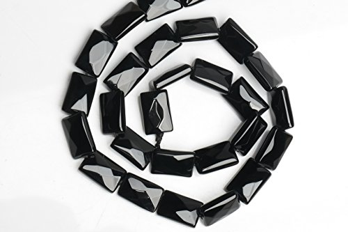 (12x18mm Rectangle Faceted Black Onyx Agate Gem stone Beads For Jewelry Making)