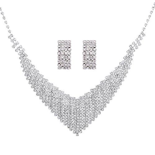 HEDIYE Wedding Bridal Jewelry Crystal Rhinestone Necklace Earring Set Bridal Prom by HEDIYE