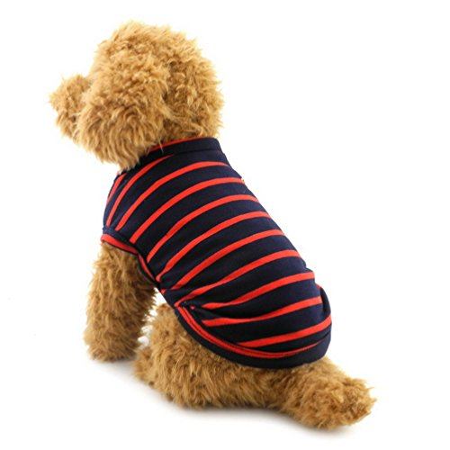 SELMAI British Small Dog Shirt Striped Cat Vest Top Soft Cotton T-Shirt for Boy Girl Pet Tee Summer Puppy Clothes,Red XL
