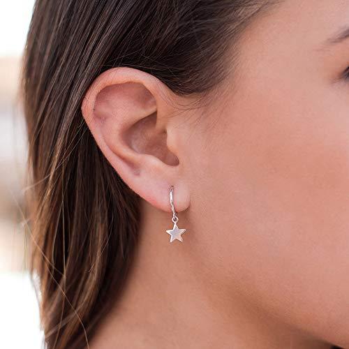 Doubnine Star Hoop Earrings Dangle Minimal Chic Jewelry for Women Girls (silver)