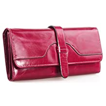 SAIERLONG® Womens Trifold Wallet Rose Red Genuine Leather Wallets