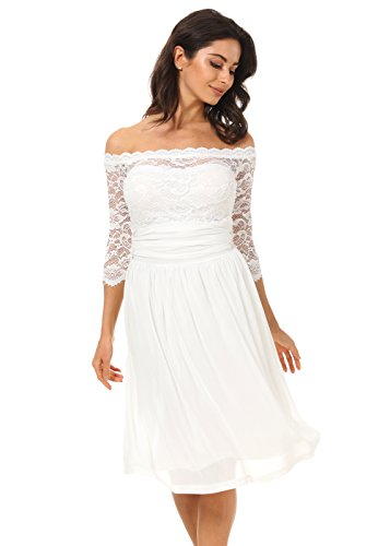 DILANNI Sexy Shoulder Off Illusion Lace Sleeve Flare Dress For Plus Size Women