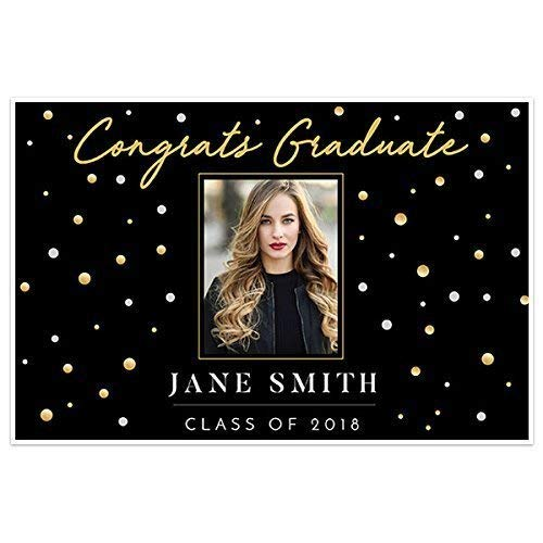 Personalized Photo Banner - Gold Black Class of 2018 Photo Graduation Banner Personalized Backdrop