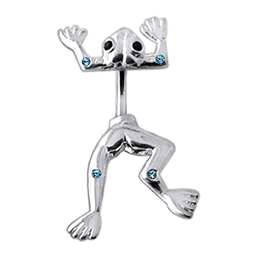 Aquamarine Multi Crystal Stone Jumping Frog 925 Sterling Silver Double Side Belly Button Ring Jewelry