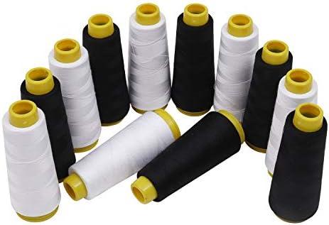 Hilo para Overlock (12 Piezas) - 11,000 Metros (11,5cm cada Carretes) 6 Negro y 6 Blanco Hilos de Coser de Poliéster en Conos de Plástico para Máquina de Coser ...