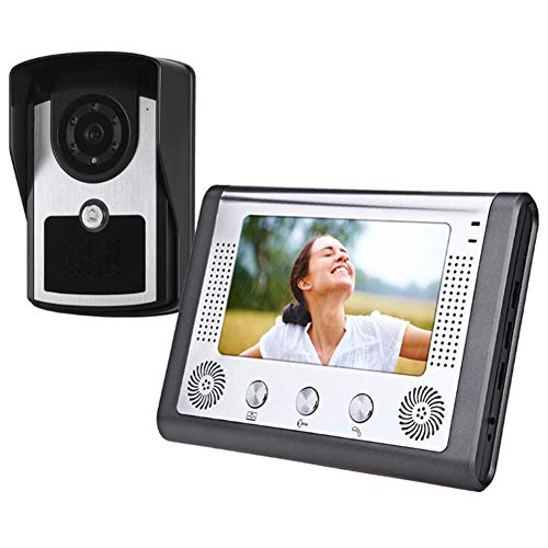 AKAKKSKY Wired Video Door Phone Intercom System 7'' TFT LCD Monitor with 700TVL Wired Doorbell Camera,Support Unlock Infrared Night View Rainproof(12 Chord Sounds Available)