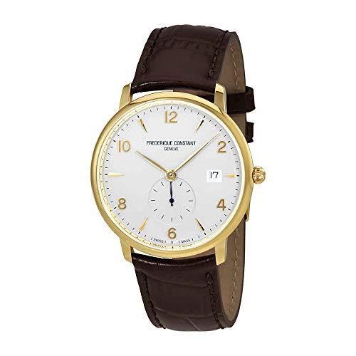 Frederique Constant Men's 'Slimline' Swiss Quartz Gold-Tone and Leather Dress Watch, Color:Brown (Model: FC-245VA5S5) ()