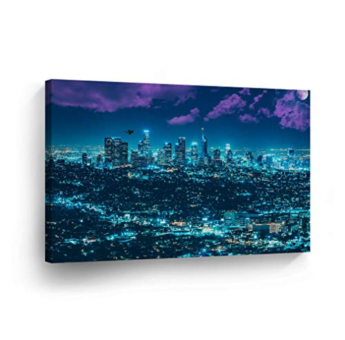 (Los Angeles Wall Art Fantastic Skyline with Blue City Lights at Night Canvas Print California Home Decor Artwork Gallery Wrapped Wood Stretched and Ready to Hang - %100 Handmade in)