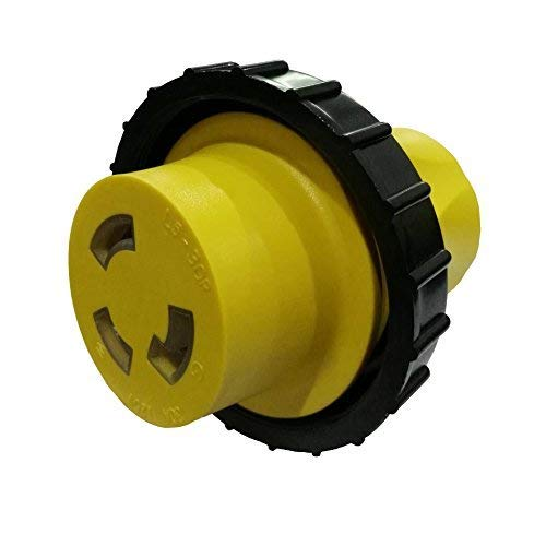 Parkworld 691685 Shore Power Adapter Household 15A 5-15 Plug to RV Twist Lock 30A Socket L5-30 Receptacle with Locking Ring ()