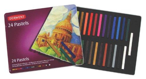 Derwent Pastels, 2.875-Inch L x .25-Inch W, Metal Tin, 24 Count (36004) by Derwent