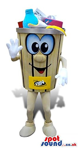 [Trash Can Or Recycling Box With Bottles Funny Character SPOTSOUND US Mascot Costume] (Recycle Bin Costume)