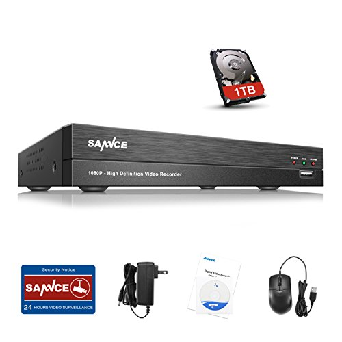 DVR Recorder for TV, SANNCE 4-Channel 1080P AHD CCTV DVR Recorder for TV/Surveillance Security Camera,Surveillance DVR Recorder with 1TB Hard Disk Drive, Email Alarm, Phone ()