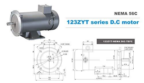 TEFC 56C 90V DC MOTOR PERMANENT MAGNET 1750RPM 3//4HP