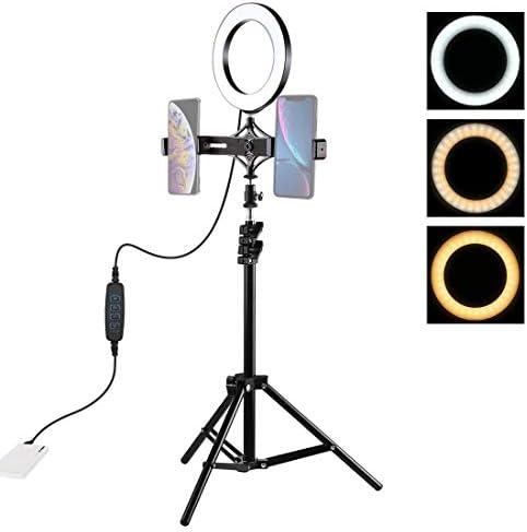 Camera Tripod Mount 1.1メートル三脚マウント ライブブロードキャストデュアル電話ブラケット 6.2インチL