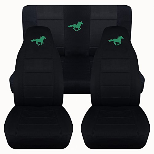 Emerald Green Horses - Designcovers Fits 1994 to 2004 Ford Mustang Solid Black Seat Covers with Your Choice of Color Horse Fits 1994 to 2004 (Coupe, Emerald Green)