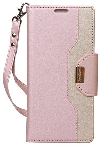 ProCase Galaxy Note 9 Wallet Case, Flip Kickstand Case with Card Slots Mirror Wristlet, Folding Stand Protective Cover for Samsung Galaxy Note 9 2018 -Pink