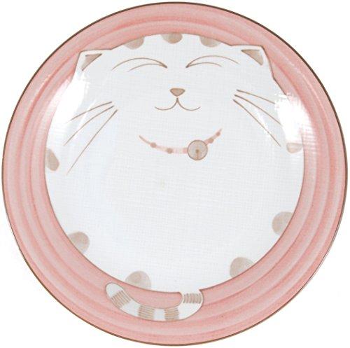 JapanBargain Smiling Cat Porcelain Plate, 7-3/4 Inch, Pink