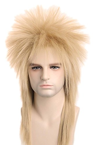 70s 80s Wig for Women Men Couples Halloween Costumes Wig Rocking Punk Rocker Mullet Wig Blonde -