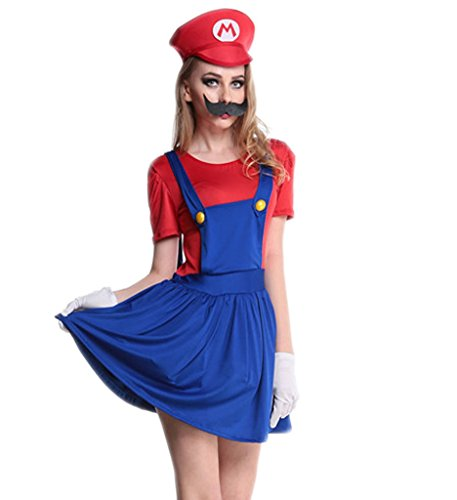 [Eternatastic Womens Halloween Costume Nintendo Super Mario Adult Costume Red XL] (Nintendo Costumes For Adults)