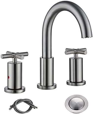 RKF Brass 2 Handle Widespread Bathroom Sink Faucet with METAL Pop-up Drain with overflow and CUPC Supply Hoses Brushed Nickel-037
