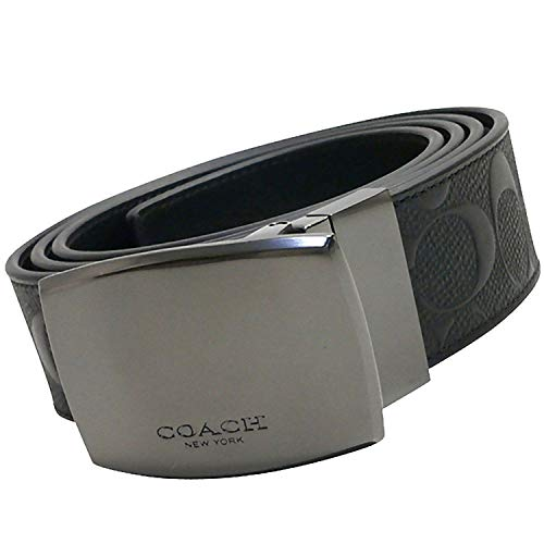 Coach Plaque Cut to Size Reversible Signature Crossgrain Leather Belt, Black/Black