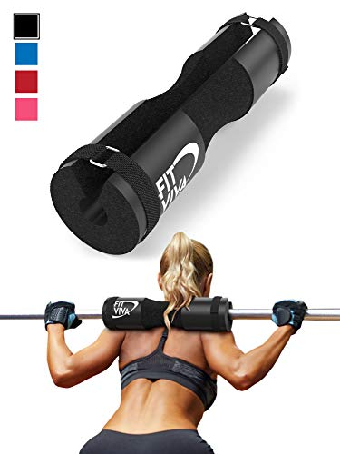 - Fit Viva Black Barbell Pad for Standard and Olympic Barbells with Velcro Safety Straps - Foam Pad for Weightlifting, Hip Thrusts, Squats, and Lunges