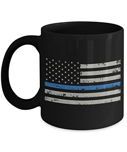 Thin Blue Line Flag Law Enforcement Coffee Mug - Police Officer Cup - As Seen On T-Shirt – Super Cool Gift For 2017 Great Quality Ultimate Desk Gifts Blue Desk Mug