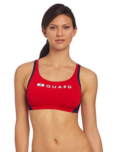 Bra Swimsuit (Speedo Women's Guard Sport Bra Swimsuit Top, Red, X-Large)