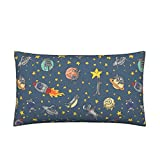Space Cat Eco Canvas Lumbar Pillow Cover - Cats Outer Space Rocket Solar System Stars by Amber Morgan - Knife Edge Cover w Optional Insert