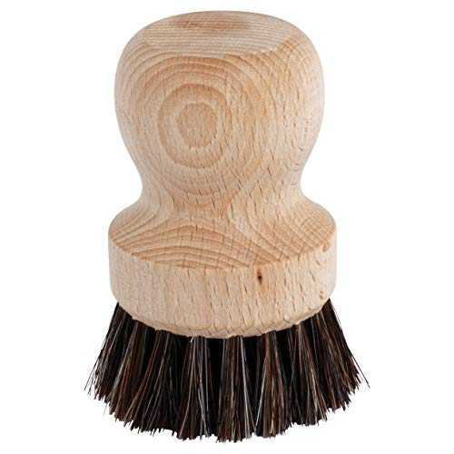 (Redecker Horsehair and Beechwood Coffee Filter Brush, Set of 2, Specially Designed for Scrubbing Filter Funnels of Coffee and Espresso Machines, Made in Germany)