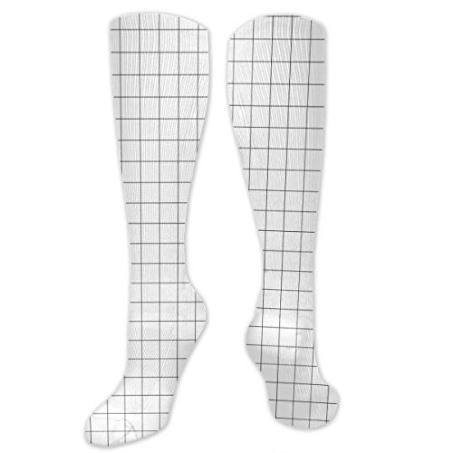 Graduated Football Socks Athletic Tube Stockings - Christmas Grid Black White Mid-Calf Socks (Grid Mid Calf Socks)