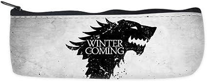 Juego de tronos lobo viene el invierno personalizado pluma estuche bolsa: Amazon.es: Oficina y papelería