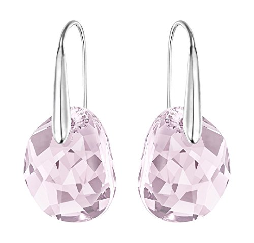 Swarovski Light Amethyst Crystal JEWELRY Pierced Drop Earrings GALET Rhodium #5023083