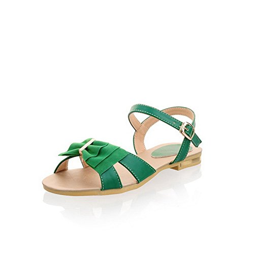 VogueZone009 Womens Open Toe PU Soft Material Solid Sandals with Bowknot and Metal Green TqvDCZR7