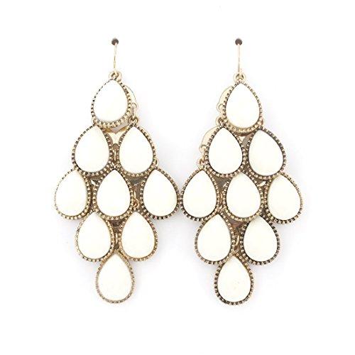 Beautiful Gold-tone Full White Crystal Leaf Dangle Post Backings Drop -