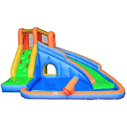 Inflatable Water Slide Pool Bouncy Waterslide for Kids Backyard with Blower