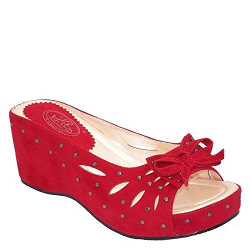 Gloednieuwe Dames Bezaaid Strass Strik Platform Wiggen Slippers Dw4172 Rood Rood