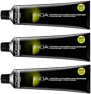 3 unidades de tinte Loreal INOA 7,18 rubio medio ceniza moka ...