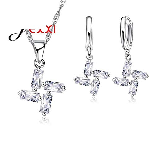 Crystal Clear Pinwheel - Exquisite Jewelry Women Girl Pinwheel Style Clear Crystal Necklace Pendant Earrings Set Promotion Sterling Silver Chain Fast Shipping
