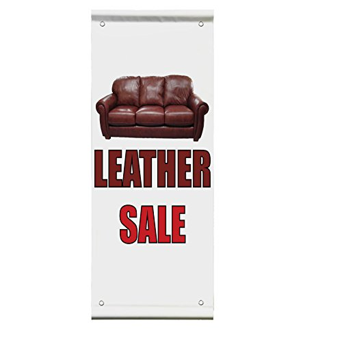 Leather Sale Double Sided Vertical Pole Banner Sign 24 in x