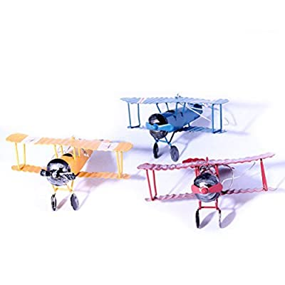 Vintage Airplane Model Metal Handicraft, Wrought Iron Aircraft Biplane, for Photo Props/Christmas/Home Decor/Ornament