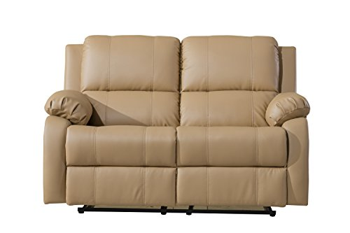 Classic Bonded Leather Oversize Double Recliner Loveseat (Hazelnut)