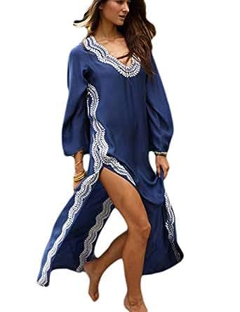 Bsubseach Navy Embroidery Long Sleeve Swimsuit Cover Up for Women V Neck High Split Swimwear Beach Robe Kaftan Dresses