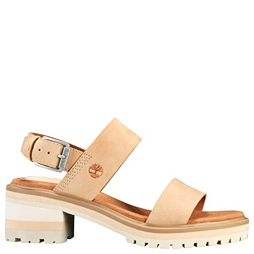 Timberland Women's Violet Marsh 2-Band Sandal Light Beige Nubuck 9 B US ()