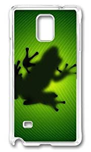 MOKSHOP Unique Frog Behind Leave Hard Case Protective Shell Cell Phone Cover For Samsung Galaxy Note 4 - PC Transparent